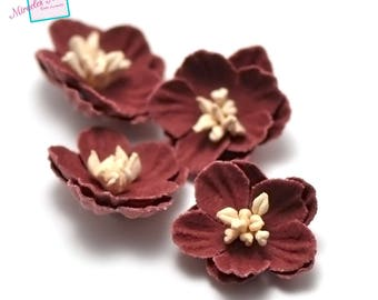 4 flowers in faux leather (suede) 21 x 7 mm, Red