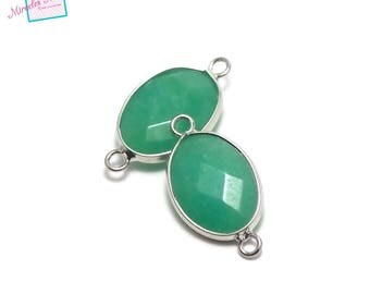 "1 connector gemstone ""faceted aventurine"" Oval 25 x 14 x 6 mm"