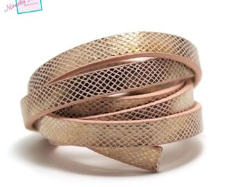 """1 m strap leather 10 x 2 mm, lined pink """"diamond"""""""