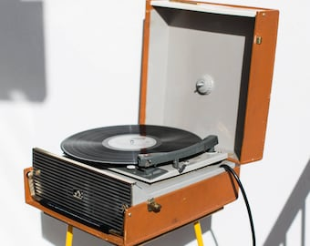 "Vintage 1960's HMV C7-8E ""Monaco"" Portable Record Player - Gramophone Turntable"