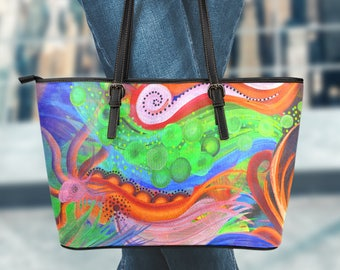 Large Vegan Leather Tote - Abstract01-08