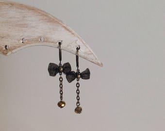 Earrings bronze with Golden Crystal bead