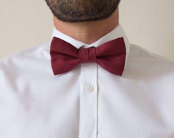 Red wine cotton adult bowtie adjustable / bow tie