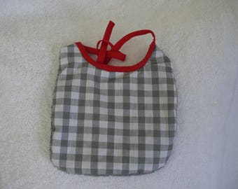 grey gingham baby bib
