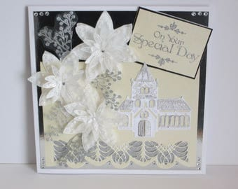 Intricate Wedding Card in Cream, White and Silver