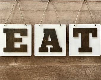 """EAT Wooden Hanging Signs - 6"""" x 6"""" Squares Farmhouse Style Hanging Signs"""