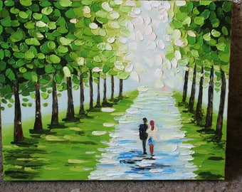 green alley gift for her wall art gift for him avenue of lovers couple landscape painting for the beloved On the anniversary moments of life