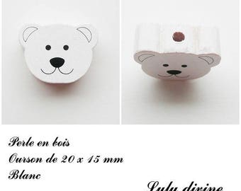 20 x 15 mm wooden bead, Pearl flat Teddy bear head: white