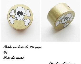 Wooden bead of 20 mm, flat, skull bead: Gold