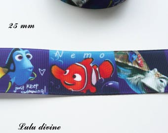 Blue grosgrain Ribbon dark Nemo & friends 25 mm sold by 50 cm