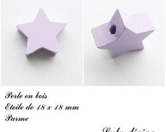 18 x 18 mm wooden bead, bead flat Star: Parma