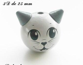 25 mm wooden bead, Pearl 3D cat: light gray