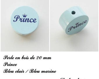 Wooden bead of 20 mm, flat bead, Prince: light blue
