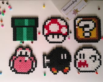 Set of 6 coasters from the Mario universe.