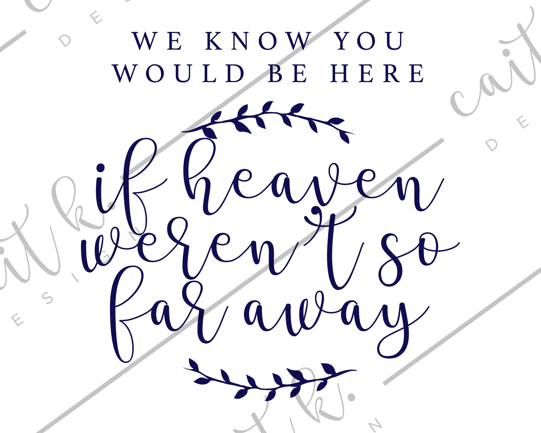 If Heaven Wasn\'t So Far Away Sign - Wedding Sign   Printable ...