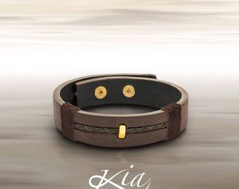 Men's leather and gold bracelet