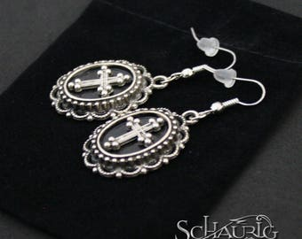 Oval earrings with crosses, gothic