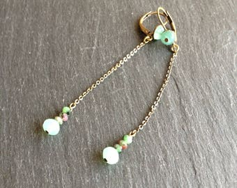 Earrings long green water