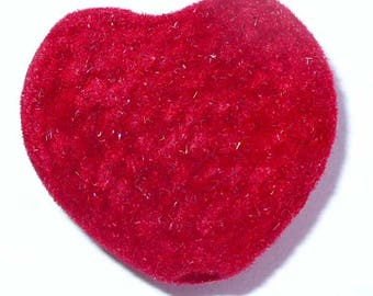 1 bead 25mm red fuzz AA20 red heart