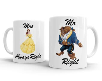 Mr Right Mrs Always Right Beauty Beast Wedding Engagement Mugs