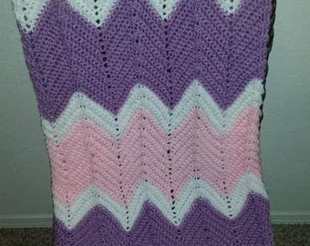 Purple, Pink and White Baby Afghan