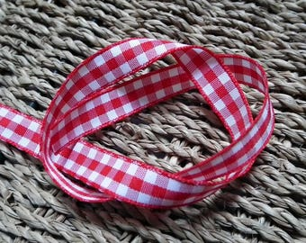 A checkered red 10mm♥ Ribbon ♥1M