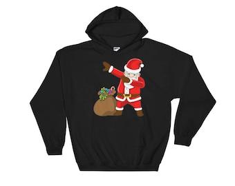 Dabbing Santa Claus Hooded Sweatshirt with a bag - Funny Christmas Dance Tee