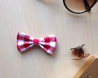 Red and white Gingham Bow Barrette