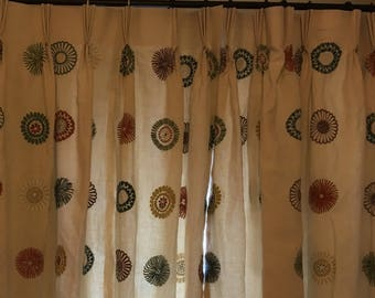 Triple pleat linen and embroidered lined curtains