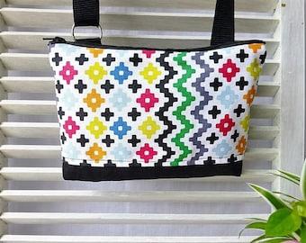 Mini sac bandoulière en tissu fabric and black multicolor