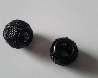 beads spacer charms set of 2 black NET