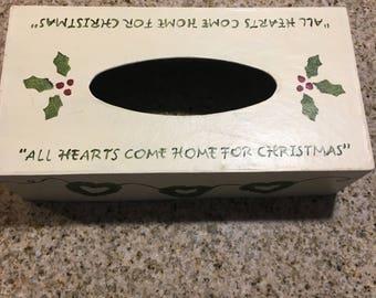 "Paper Mache Tissue Box ""All Hearts Come Home For Christmas"""