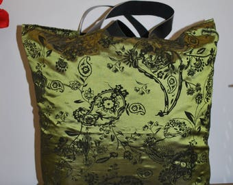 large green satin Paisley Tote