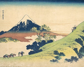 ORIGINAL TABLE SET, plastic, WASHABLE and durable - Hokusai. Inumi pass in Kai province - classic.