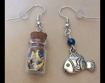 "Mismatched earrings ""tropical fish"""