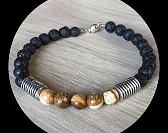 Mens lava rock beads bracelet and Jasper beads.