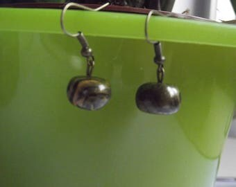 Black and gold marbled earrings with copper loops