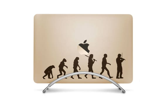 Man Evolution to Violin Player Decal Sticker for Macbooks and other Laptops, Music Violin Orchestra Strings Stradivarius Petrowitsch, mac