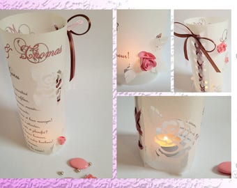 Menu candle wedding - Pink and chocolate - cut relief