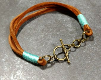 Camel Suede/Aqua Cotton Toggle Bracelet
