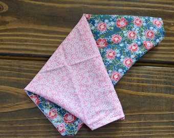 Blue and pink floral reversible bandana