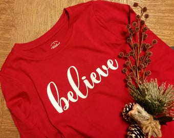 kids Christmas shirt, holiday shirt, Christmas t-shirt, xmas shirt, believe, holiday t-shirt, Merry Christmas, Christmas, kids holiday shirt