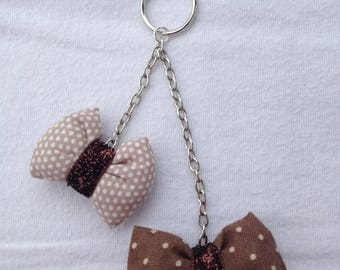 DOOR keys jewelry bag with 2 bows and chains, beige - Brown