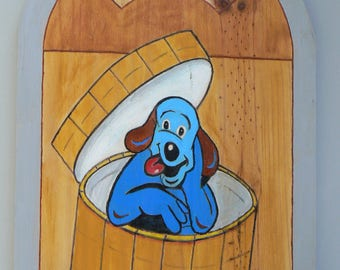 Acrylic painting on wood: type welcome:chien in hatbox