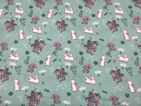 Mint rabbits fabric cotton jersey knit fabric wide for Kids apparel fabric