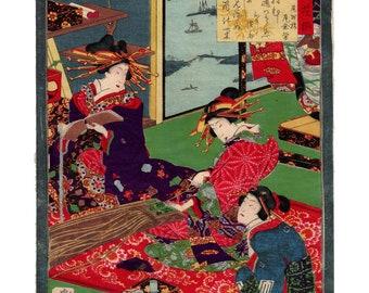 Oiran and koto (Utagawa Yoshiiku) N.1 ukiyo-e woodblock print