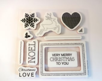 Christmas Stamps - 11 pieces - reindeer, snowflake, Holly, frame - Scrapbook - embellishment