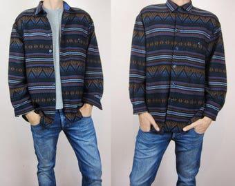 vintage 90s mens lumberjack striped shirt Large