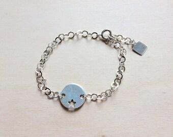 Star 925 sterling silver bracelet round Medal