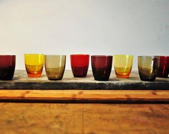 Cute set of colorful vintage shot glasses